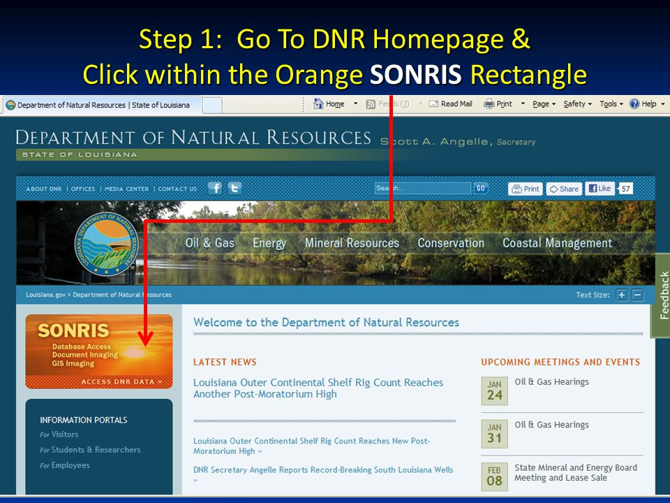 Step 1: Go To DNR Homepage & Click within the Orange SONRIS Rectangle
