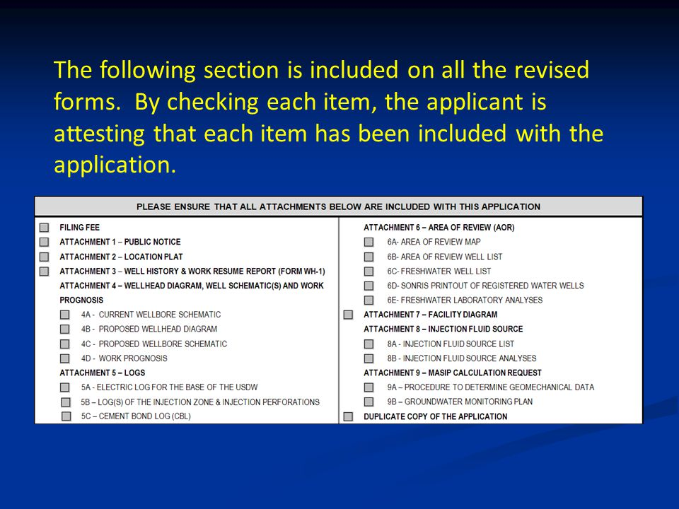 The following section is included on all the revised forms.
