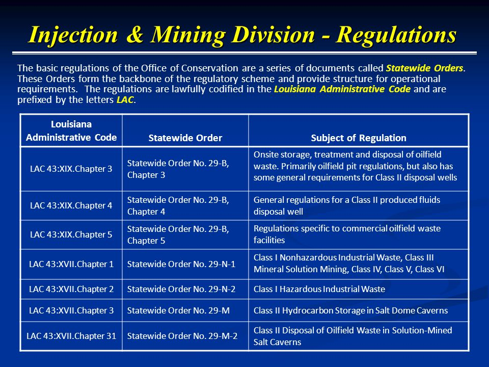 Fee Schedule at LAC 43:XIX.Chapter 7 (including application fees)  Commercial Class I$1,264  Commercial Class II$ 631  Noncommercial Injection Well$ 252  Amend Permit to Drill (amend, alter, or change a permit after its issuance) $ 126  Well Workovers FREE