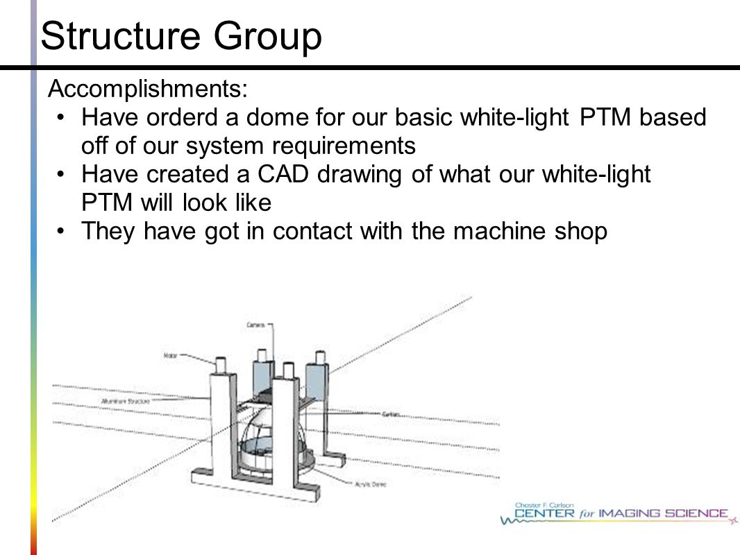 Structure Group Accomplishments: Have orderd a dome for our basic white-light PTM based off of our system requirements Have created a CAD drawing of what our white-light PTM will look like They have got in contact with the machine shop