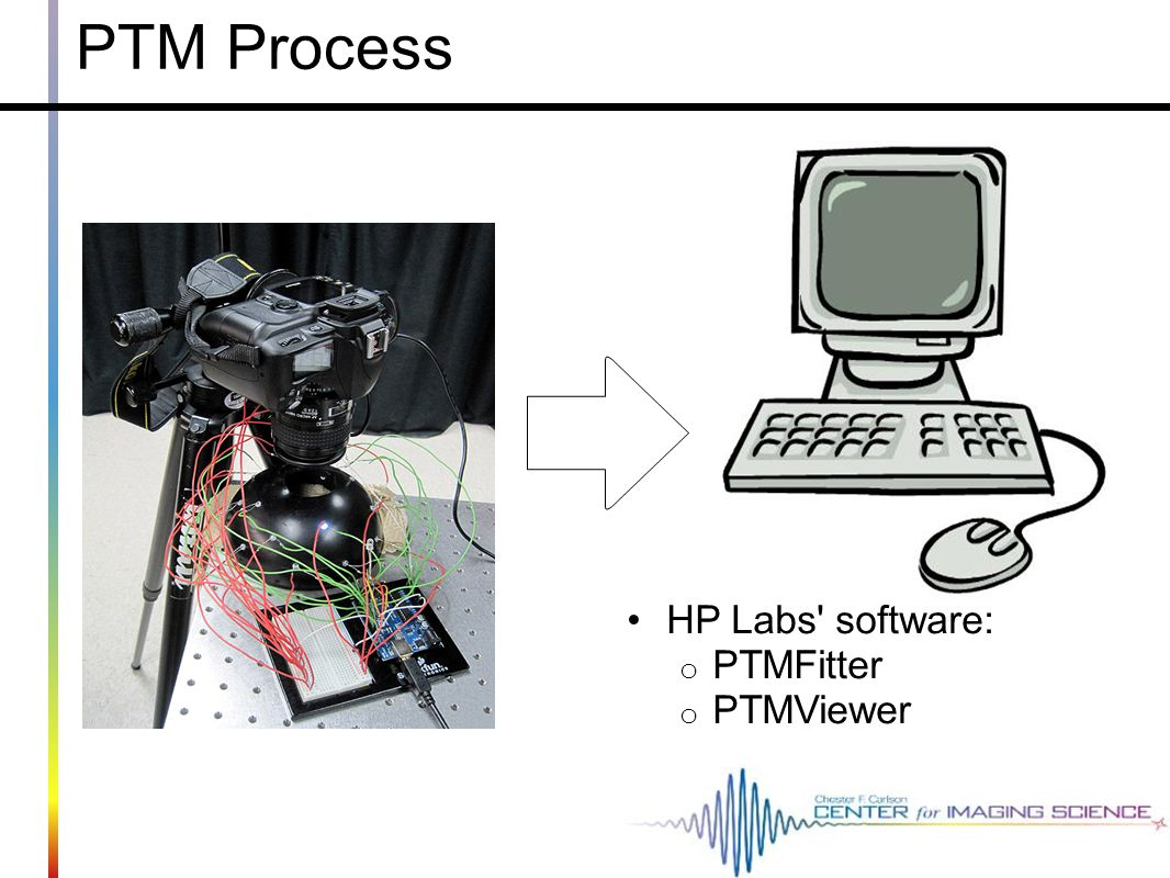 PTM Process HP Labs software: o PTMFitter o PTMViewer