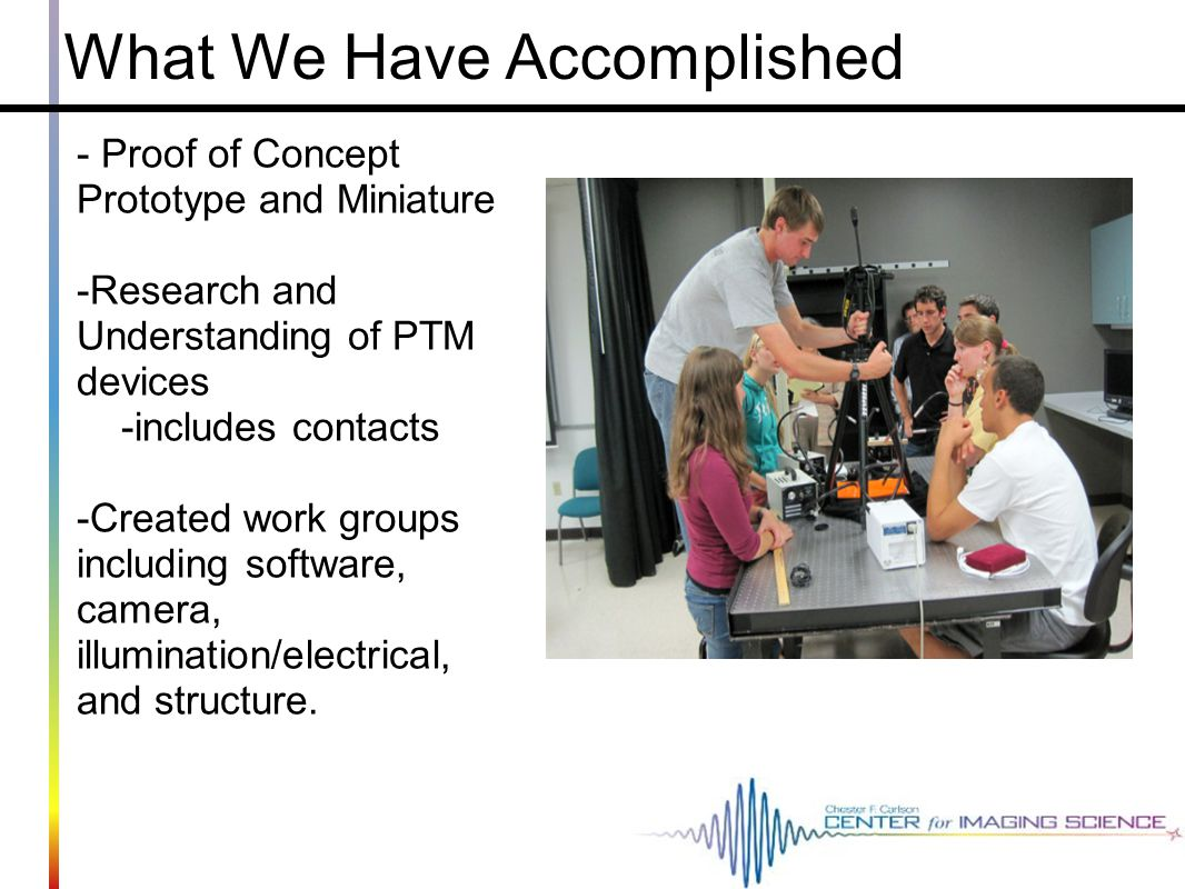 What We Have Accomplished - Proof of Concept Prototype and Miniature -Research and Understanding of PTM devices -includes contacts -Created work group