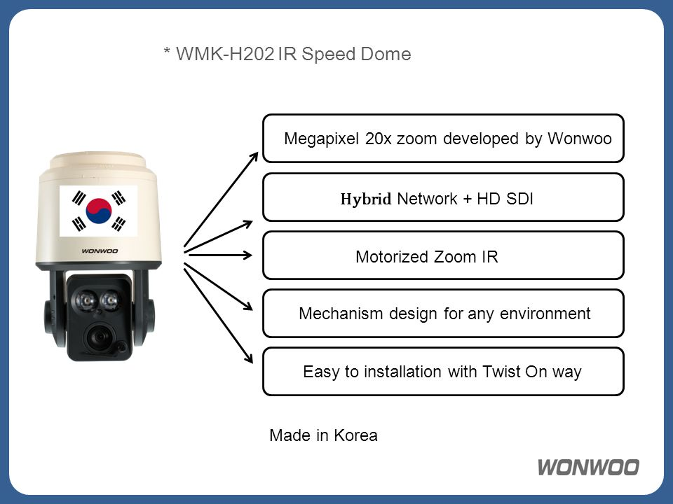 Megapixel 20x zoom developed by Wonwoo Hybrid Network + HD SDI Motorized Zoom IR Mechanism design for any environment Easy to installation with Twist