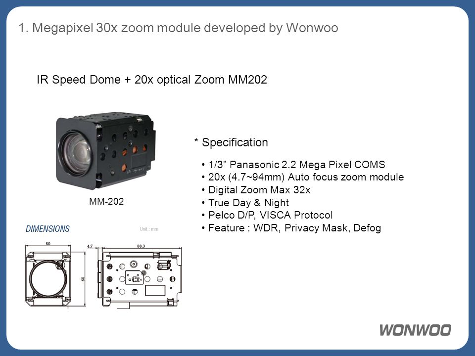 "1. Megapixel 30x zoom module developed by Wonwoo IR Speed Dome + 20x optical Zoom MM202 1/3"" Panasonic 2.2 Mega Pixel COMS 20x (4.7~94mm) Auto focus z"