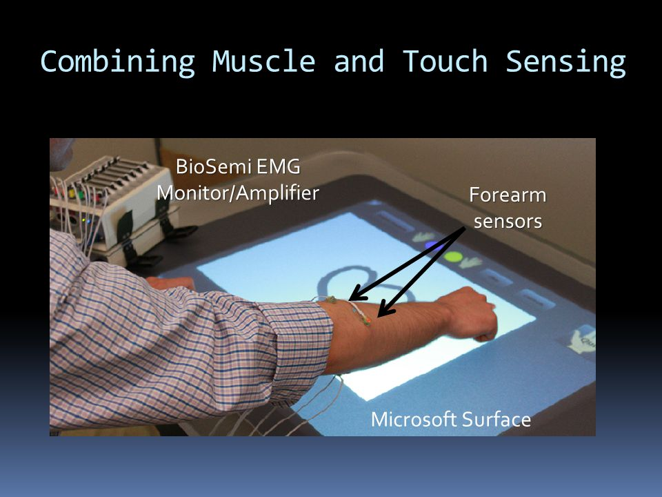 Combining Muscle and Touch Sensing BioSemi EMG Monitor/Amplifier Microsoft Surface Forearm sensors