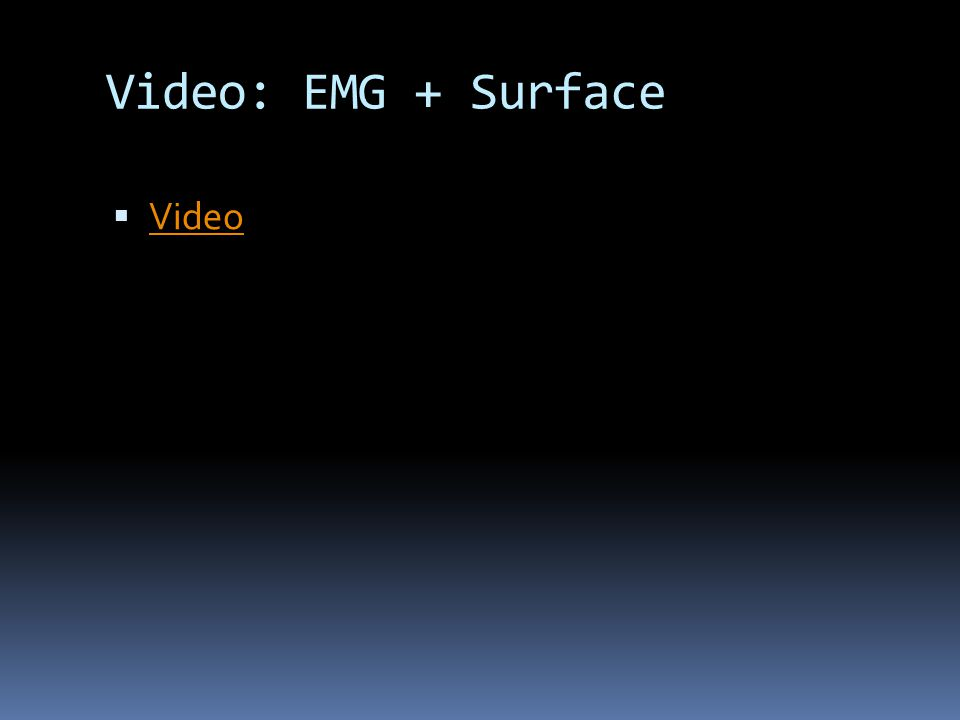 Video: EMG + Surface  Video Video