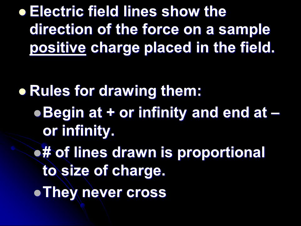 Electric field lines show the direction of the force on a sample positive charge placed in the field.