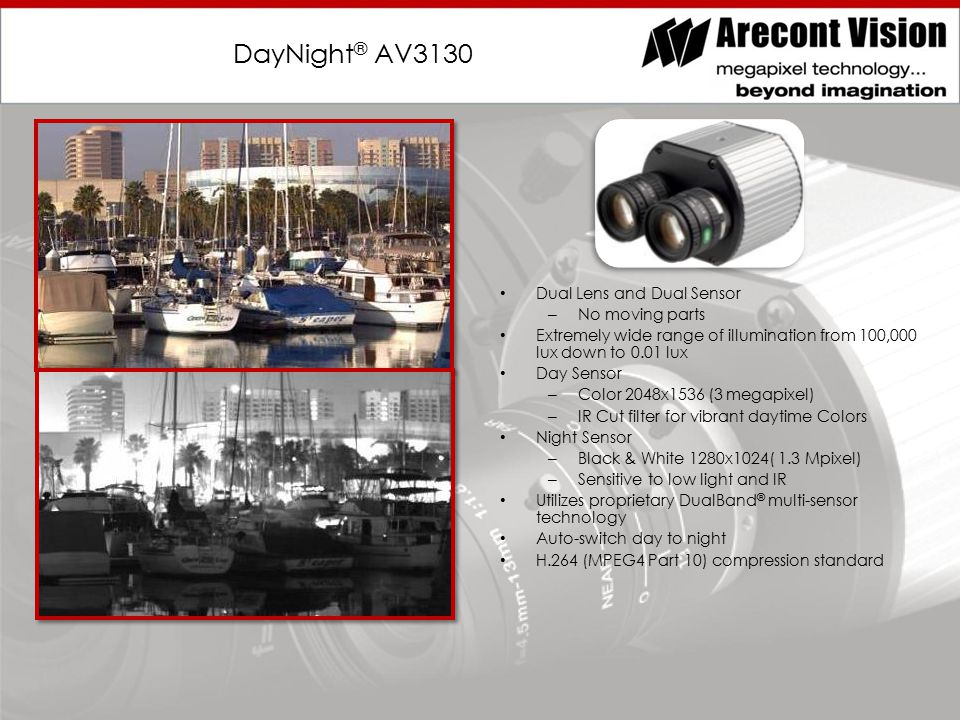 DayNight ® AV3130 Dual Lens and Dual Sensor – No moving parts Extremely wide range of illumination from 100,000 lux down to 0.01 lux Day Sensor – Color 2048x1536 (3 megapixel) – IR Cut filter for vibrant daytime Colors Night Sensor – Black & White 1280x1024( 1.3 Mpixel) – Sensitive to low light and IR Utilizes proprietary DualBand ® multi-sensor technology Auto-switch day to night H.264 (MPEG4 Part 10) compression standard