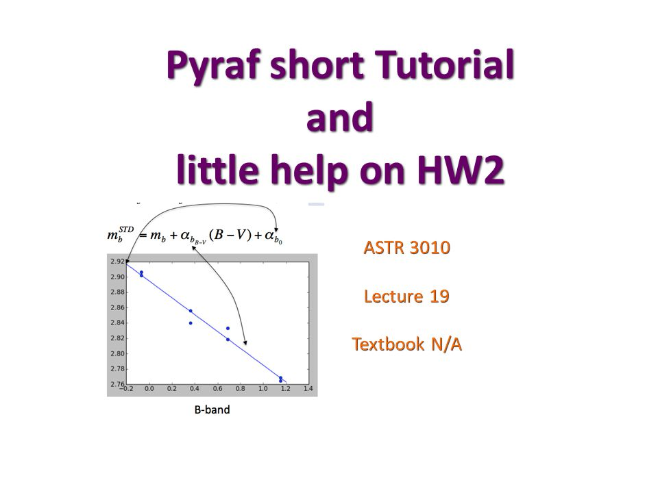 Pyraf short Tutorial and little help on HW2 ASTR 3010 Lecture 19 Textbook N/A