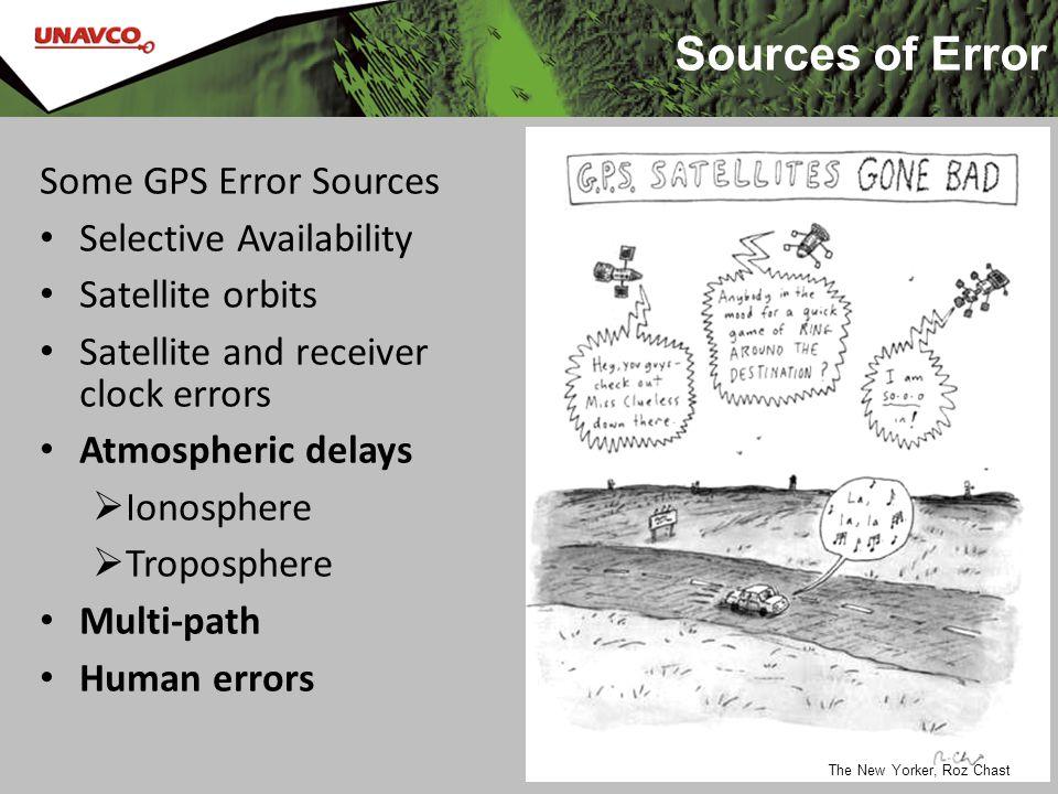 Sources of Error 14 Some GPS Error Sources Selective Availability Satellite orbits Satellite and receiver clock errors Atmospheric delays  Ionosphere