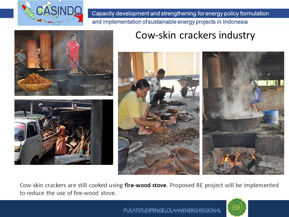 Cow-skin crackers industry Cow-skin crackers are still cooked using fire-wood stove. Proposed RE project will be implemented to reduce the use of fire