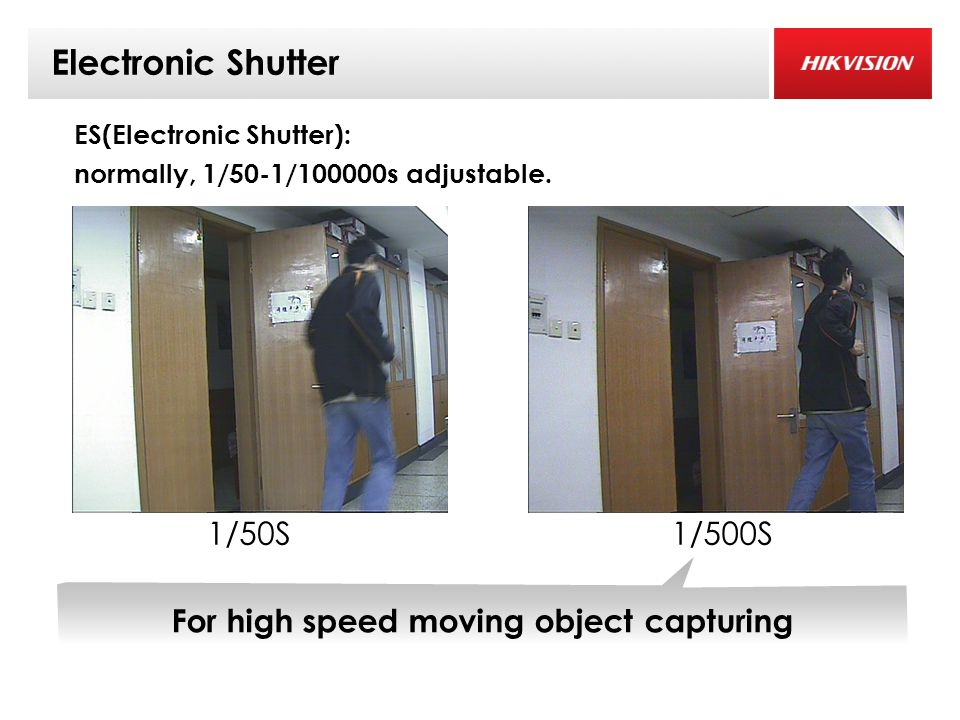 Electronic Shutter 0.06Lux( 彩色 ) 1/500S1/50S ES(Electronic Shutter): normally, 1/50-1/100000s adjustable.