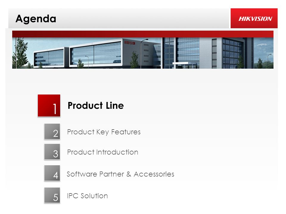 Agenda 1 2 3 Product Line Product Key Features Product Introduction 4 IPC Solution 5 Software Partner & Accessories