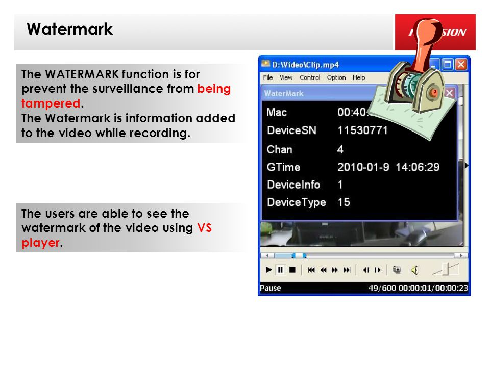 1 Watermark The WATERMARK function is for prevent the surveillance from being tampered.