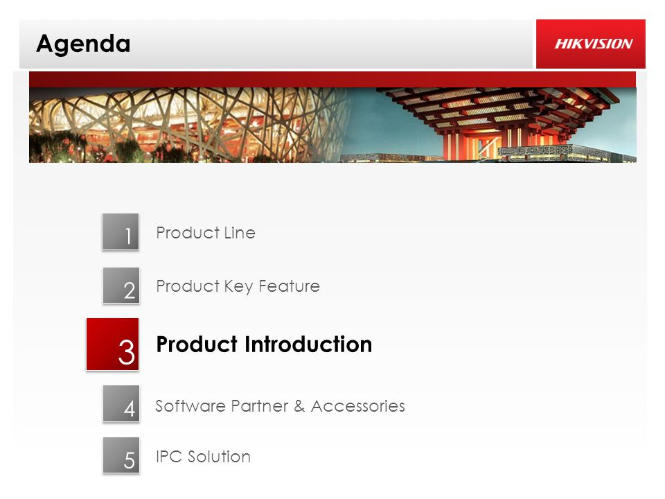 Agenda 3 1 2 Product Introduction Product Line Product Key Feature 4 IPC Solution 5 Software Partner & Accessories