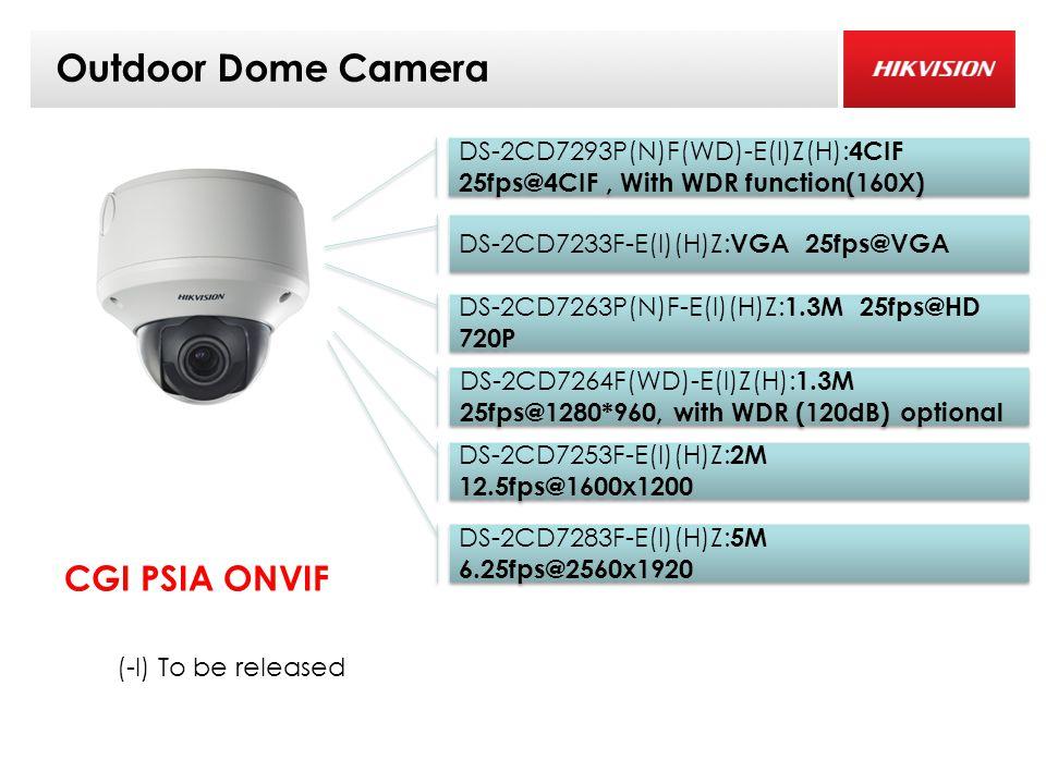 Outdoor Dome Camera DS-2CD7253F-E(I)(H)Z: 2M 12.5fps@1600x1200 DS-2CD7263P(N)F-E(I)(H)Z: 1.3M 25fps@HD 720P DS-2CD7233F-E(I)(H)Z: VGA 25fps@VGA DS-2CD7283F-E(I)(H)Z: 5M 6.25fps@2560x1920 CGI PSIA ONVIF (-I) To be released DS-2CD7293P(N)F(WD)-E(I)Z(H): 4CIF 25fps@4CIF, With WDR function(160X) DS-2CD7264F(WD)-E(I)Z(H): 1.3M 25fps@1280*960, with WDR (120dB) optional