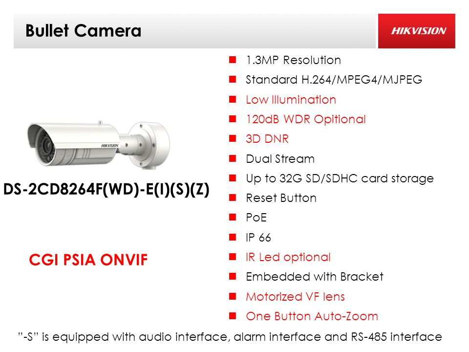 Bullet Camera 1.3MP Resolution Standard H.264/MPEG4/MJPEG Low Illumination 120dB WDR Opitional 3D DNR Dual Stream Up to 32G SD/SDHC card storage Reset Button PoE IP 66 IR Led optional Embedded with Bracket Motorized VF lens One Button Auto-Zoom DS-2CD8264F(WD)-E(I)(S)(Z) CGI PSIA ONVIF -S is equipped with audio interface, alarm interface and RS-485 interface