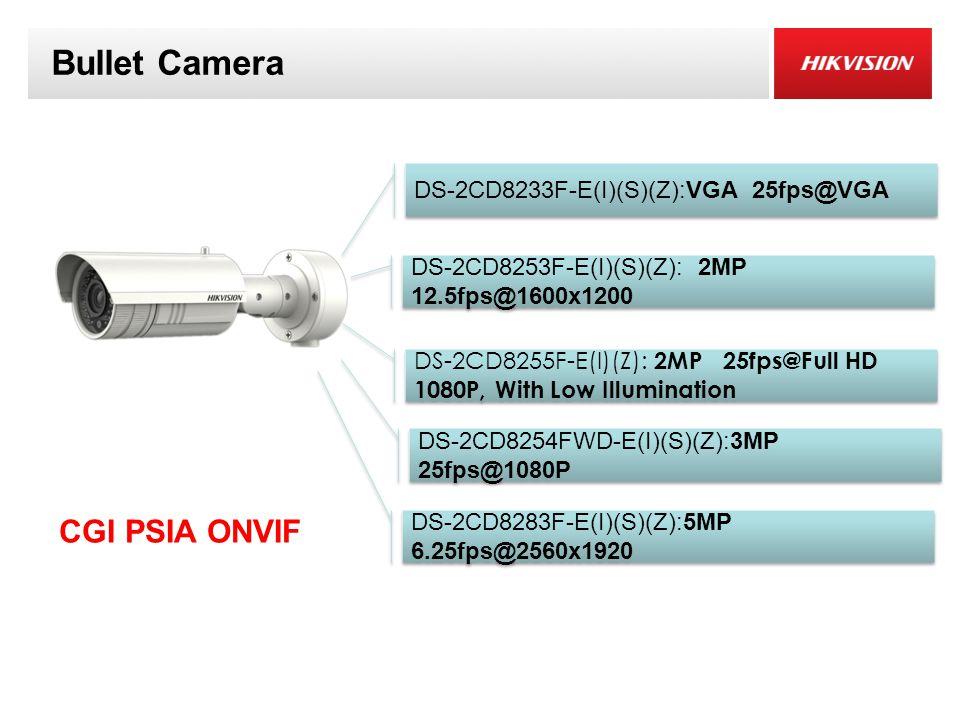 Bullet Camera CGI PSIA ONVIF DS-2CD8254FWD-E(I)(S)(Z):3MP 25fps@1080P DS-2CD8283F-E(I)(S)(Z):5MP 6.25fps@2560x1920 DS-2CD8253F-E(I)(S)(Z): 2MP 12.5fps@1600x1200 DS-2CD8233F-E(I)(S)(Z):VGA 25fps@VGA DS-2CD8255F-E(I)(Z): 2MP 25fps@Full HD 1080P, With Low Illumination