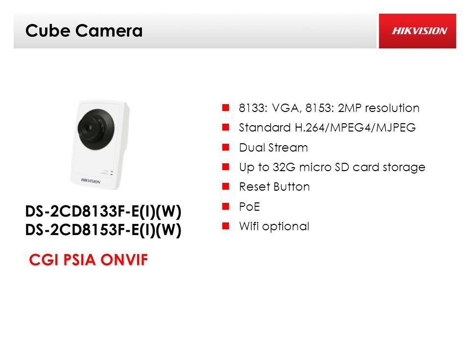 Cube Camera 8133: VGA, 8153: 2MP resolution Standard H.264/MPEG4/MJPEG Dual Stream Up to 32G micro SD card storage Reset Button PoE Wifi optional DS-2CD8133F-E(I)(W) CGI PSIA ONVIF DS-2CD8153F-E(I)(W)