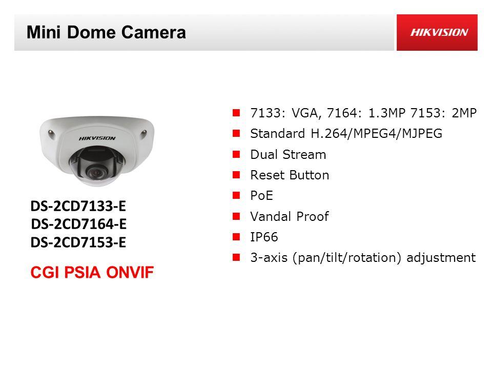 Mini Dome Camera 7133: VGA, 7164: 1.3MP 7153: 2MP Standard H.264/MPEG4/MJPEG Dual Stream Reset Button PoE Vandal Proof IP66 3-axis (pan/tilt/rotation) adjustment DS-2CD7133-E CGI PSIA ONVIF DS-2CD7153-E DS-2CD7164-E