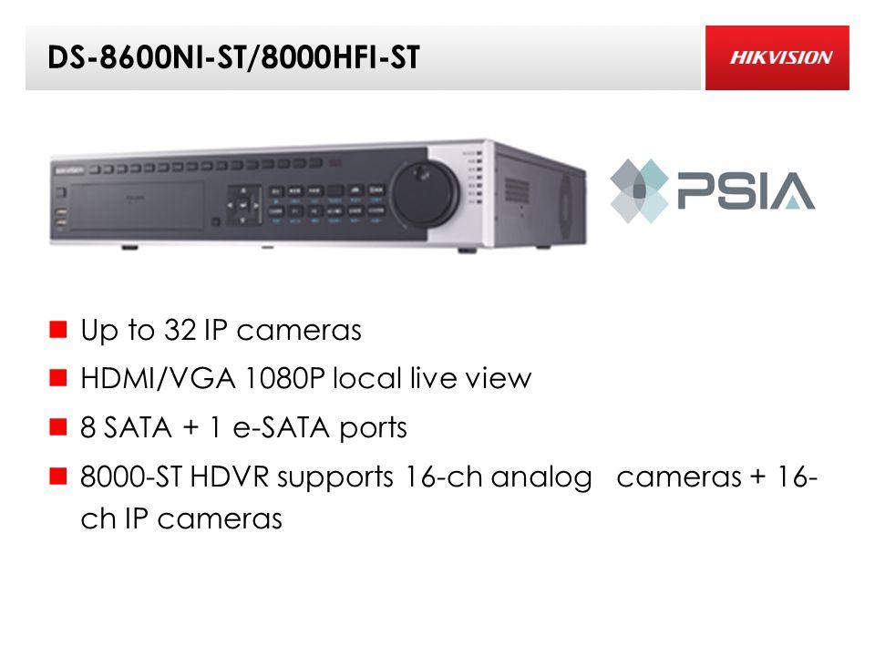 DS-8600NI-ST/8000HFI-ST Up to 32 IP cameras HDMI/VGA 1080P local live view 8 SATA + 1 e-SATA ports 8000-ST HDVR supports 16-ch analog cameras + 16- ch IP cameras