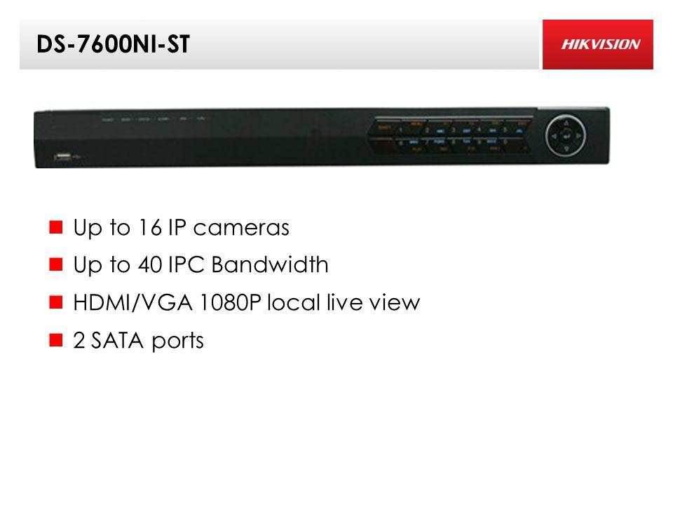 DS-7600NI-ST Up to 16 IP cameras Up to 40 IPC Bandwidth HDMI/VGA 1080P local live view 2 SATA ports