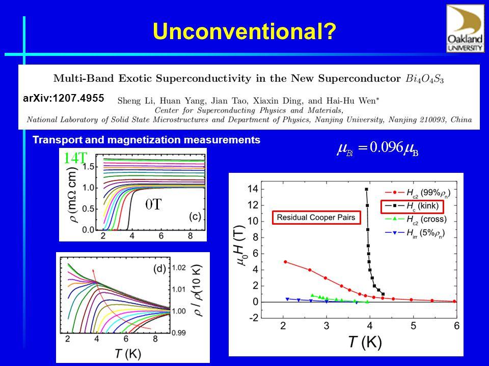 Unconventional Transport and magnetization measurements arXiv:1207.4955