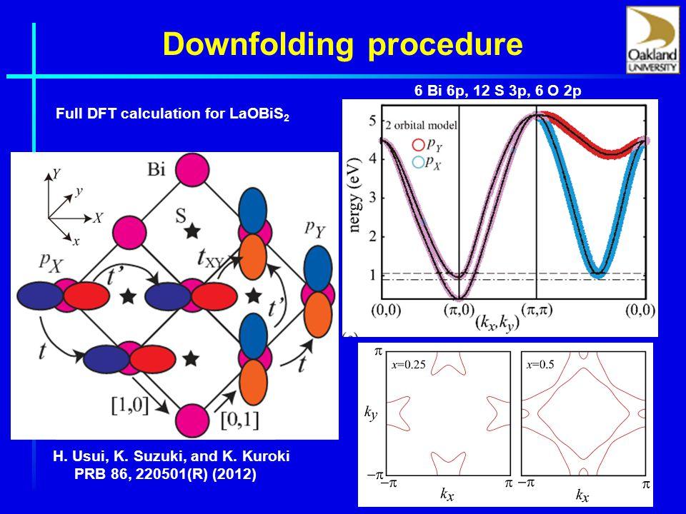 Downfolding procedure Full DFT calculation for LaOBiS 2 6 Bi 6p, 12 S 3p, 6 O 2p H.