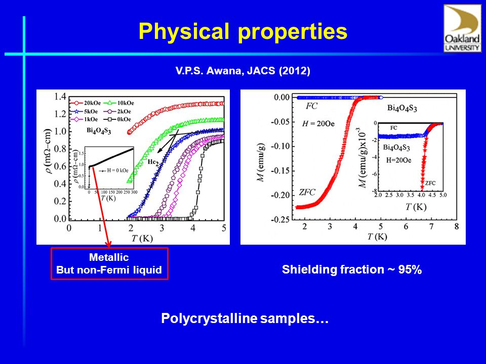 Physical properties Metallic But non-Fermi liquid Polycrystalline samples… Shielding fraction ~ 95% V.P.S.