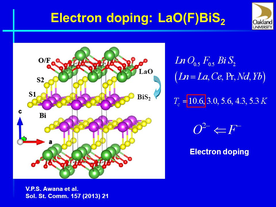 Electron doping: LaO(F)BiS 2 V.P.S. Awana et al. Sol. St. Comm. 157 (2013) 21 Electron doping