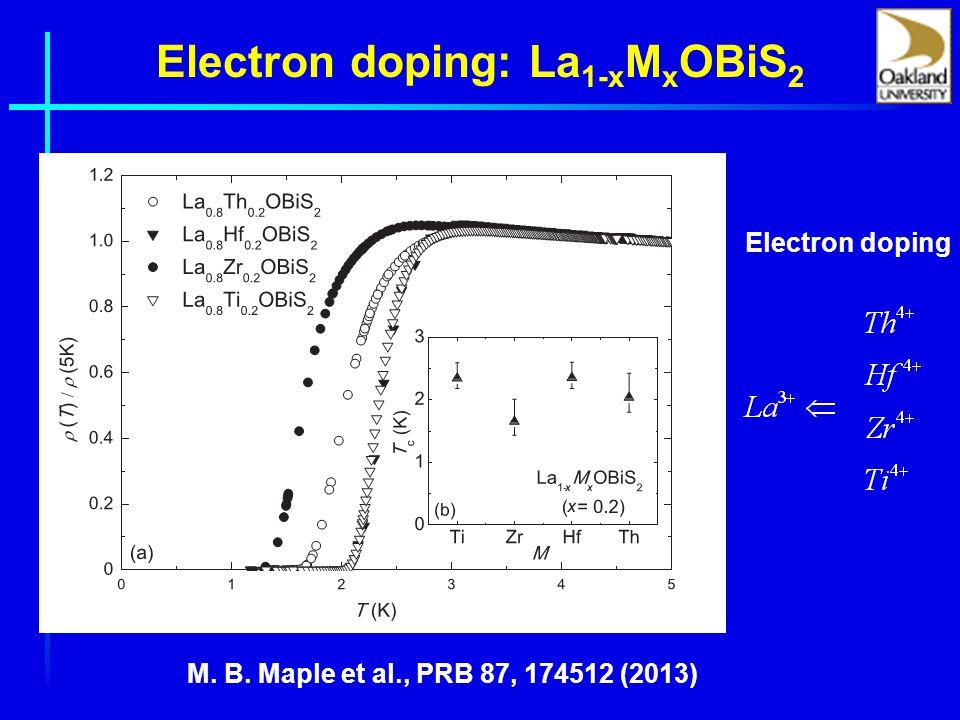 Electron doping: La 1-x M x OBiS 2 Electron doping M. B. Maple et al., PRB 87, 174512 (2013)