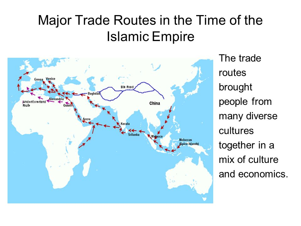 Major Trade Routes in the Time of the Islamic Empire The trade routes brought people from many diverse cultures together in a mix of culture and economics.