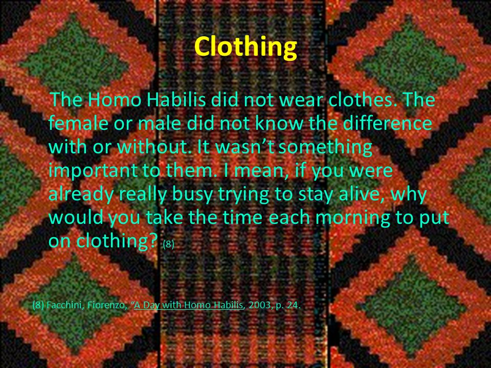 Clothing The Homo Habilis did not wear clothes.