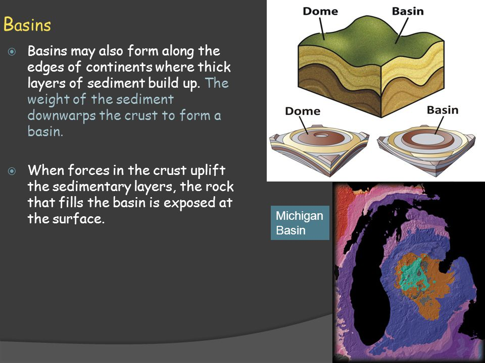 B asins  Basins may also form along the edges of continents where thick layers of sediment build up. The weight of the sediment downwarps the crust t