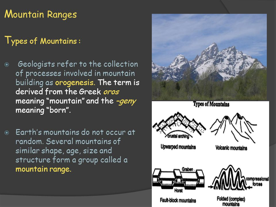 M ountain Systems T ypes of Mountains :  A group of different mountain ranges in the same region form a mountain system.