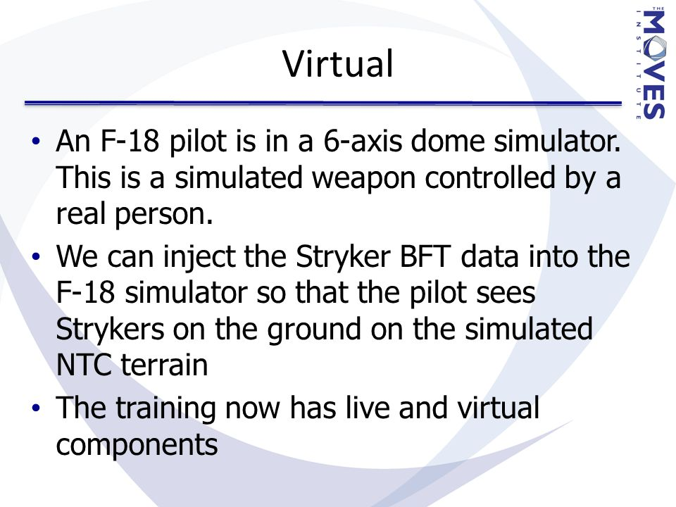 Virtual An F-18 pilot is in a 6-axis dome simulator.