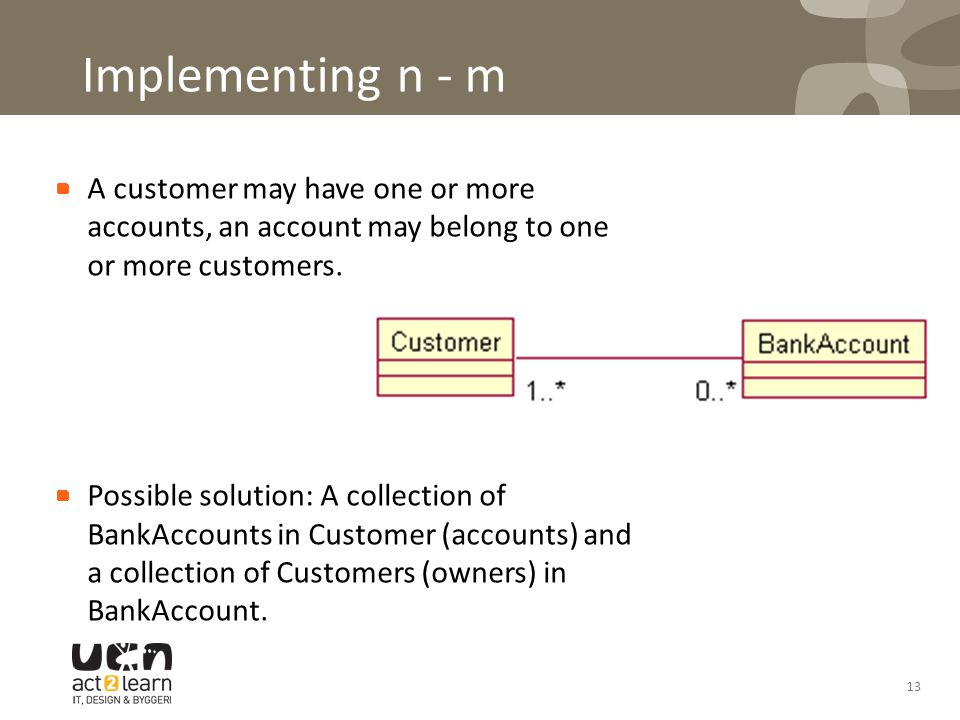 Implementing n - m A customer may have one or more accounts, an account may belong to one or more customers.