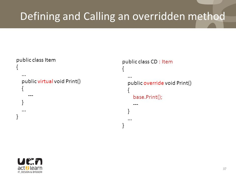 Defining and Calling an overridden method public class CD : Item {...