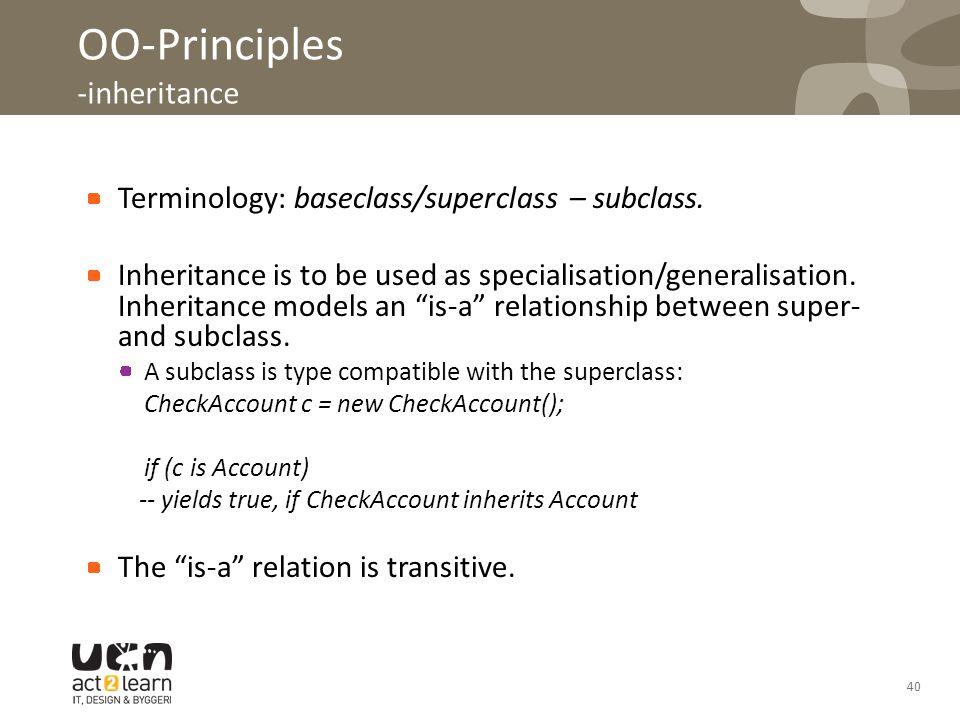40 OO-Principles -inheritance Terminology: baseclass/superclass – subclass. Inheritance is to be used as specialisation/generalisation. Inheritance mo