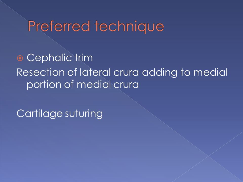 The operative goal :  reposition the tip definition points  Angulate the domes  Shape lateral crura