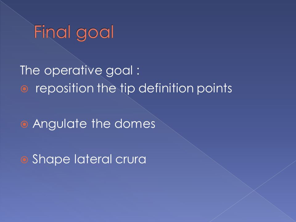 The operative goal :  reposition the tip definition points  Angulate the domes  Shape lateral crura