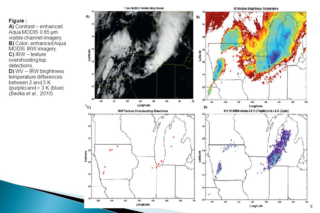 Figure : A) Contrast – enhanced Aqua MODIS 0.65 μm visible channel imagery, B) Color- enhanced Aqua MODIS IRW imagery, C) IRW – texture overshooting top detections, D) WV – IRW brightness temperature differences between 2 and 3 K (purple) and > 3 K (blue) (Bedka et al., 2010) 8
