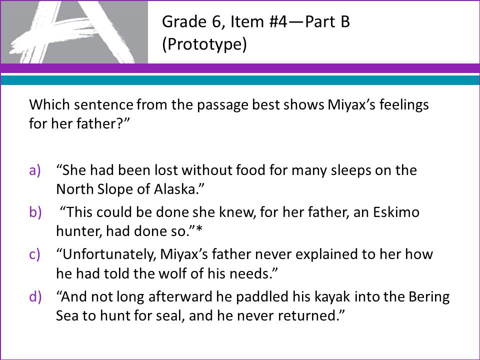 Grade 6, Item #4—Part B (Prototype) Which sentence from the passage best shows Miyax's feelings for her father a) She had been lost without food for many sleeps on the North Slope of Alaska. b) This could be done she knew, for her father, an Eskimo hunter, had done so. * c) Unfortunately, Miyax's father never explained to her how he had told the wolf of his needs. d) And not long afterward he paddled his kayak into the Bering Sea to hunt for seal, and he never returned.