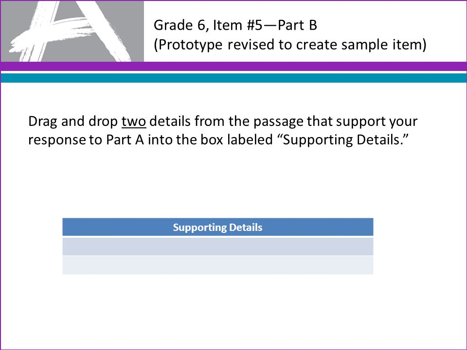 Grade 6, Item #5—Part B (Prototype revised to create sample item) Drag and drop two details from the passage that support your response to Part A into the box labeled Supporting Details. Supporting Details