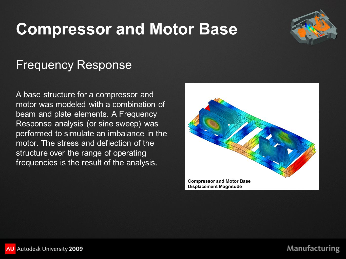 Compressor and Motor Base Frequency Response A base structure for a compressor and motor was modeled with a combination of beam and plate elements.