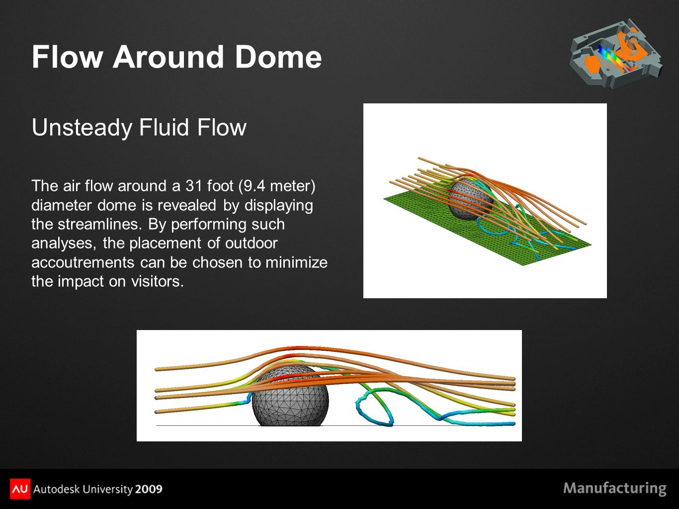 Flow Around Dome Unsteady Fluid Flow The air flow around a 31 foot (9.4 meter) diameter dome is revealed by displaying the streamlines.