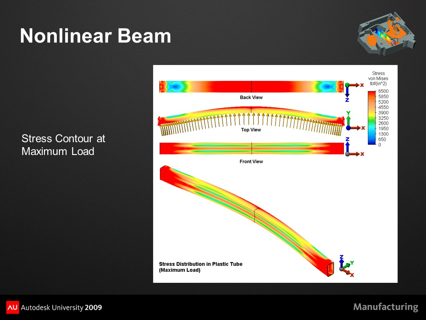 Nonlinear Beam Stress Contour at Maximum Load