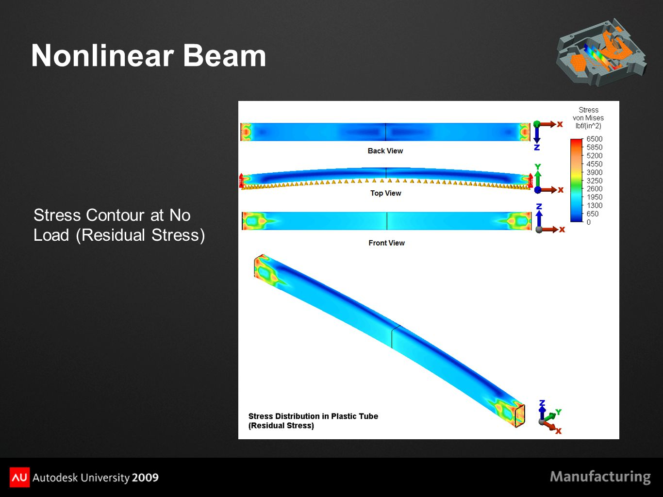Nonlinear Beam Stress Contour at No Load (Residual Stress)