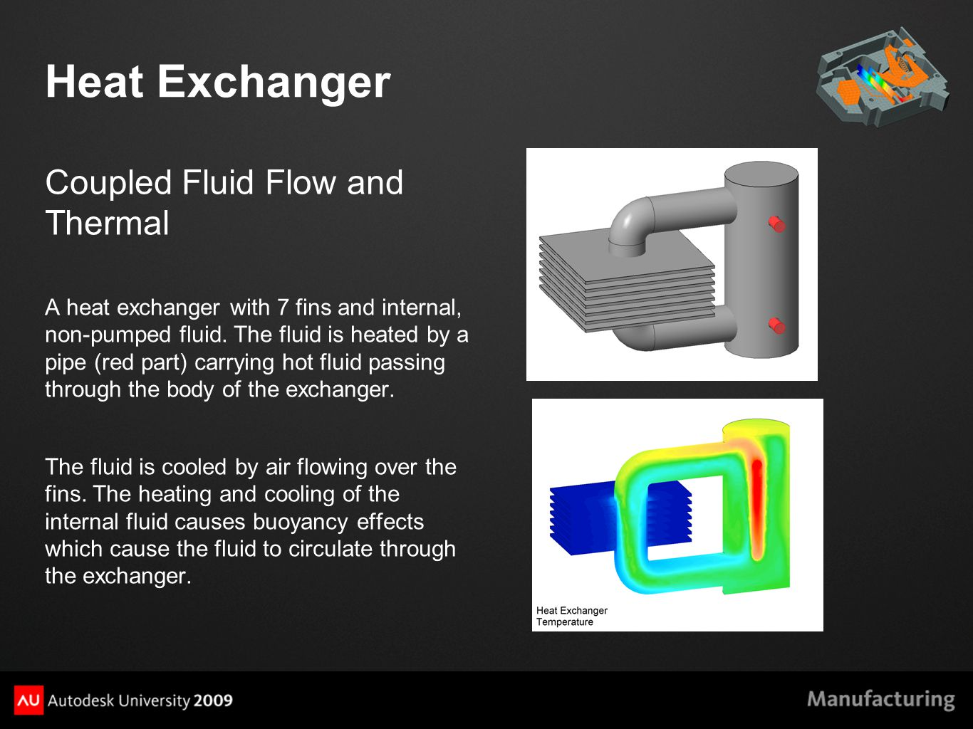 Heat Exchanger Coupled Fluid Flow and Thermal A heat exchanger with 7 fins and internal, non-pumped fluid.