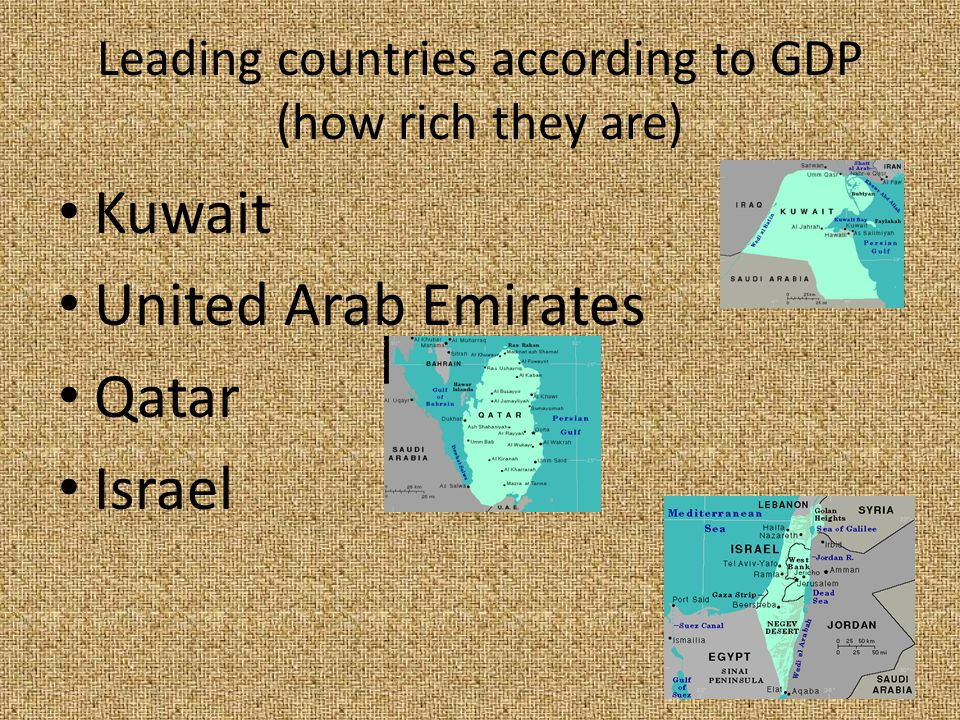 Leading countries according to GDP (how rich they are) Kuwait United Arab Emirates Qatar Israel